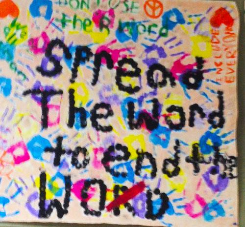 Student-made poster promoting the Spread the Word to End the Word campaign.