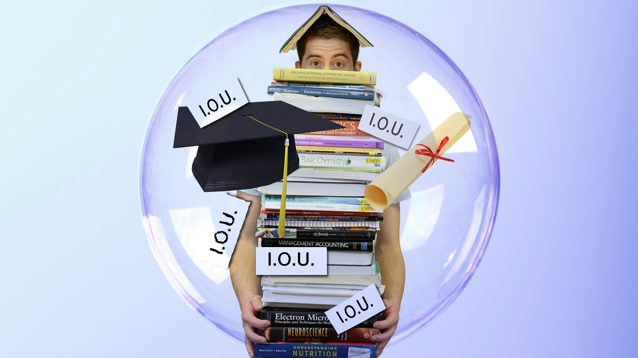 A+college+student+accumulates+debt+from+student+loans+and+needed+learning+materials+as+they+pursue+a+degree.+