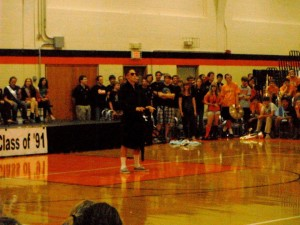Class of 2012 graduate Nick Coutre plays the air piano in the Lip Sync Contest two years ago.