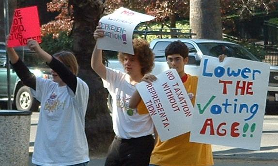 Teenagers in California protest in favor of lowering the voting age.
