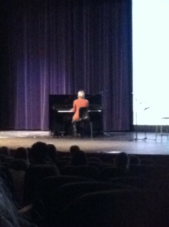 Senior, Claire Bryant performed a song in front of LHS students and faculty on Wednesday.