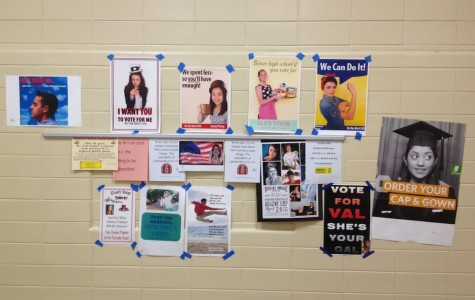Posters for the Executive Board candidates can be seen sprawled all over the LHS hallways.