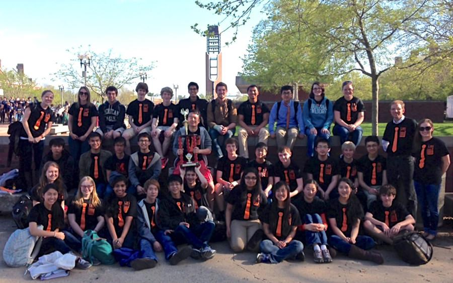 The math team celebrates their second place title at state on May 3, 2014. Photo courtesy: Mr. Brenner