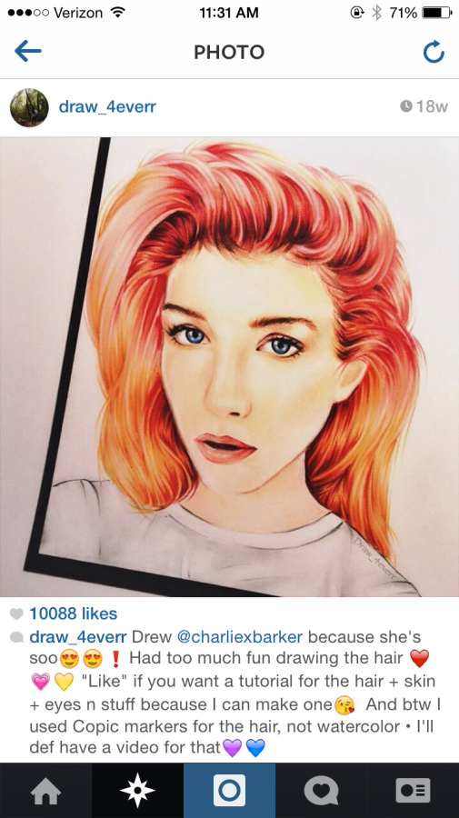 One of Fang's recent pictures receiving over 10,000 likes on Instagram. The bright red hair in this drawing visually expresses her talents in drawing hair.