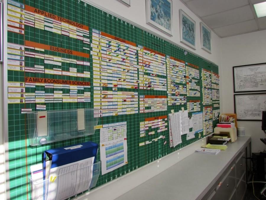The master schedule is displayed on a magnetic board that extends the length of the entire wall in Mr. Stevens office.