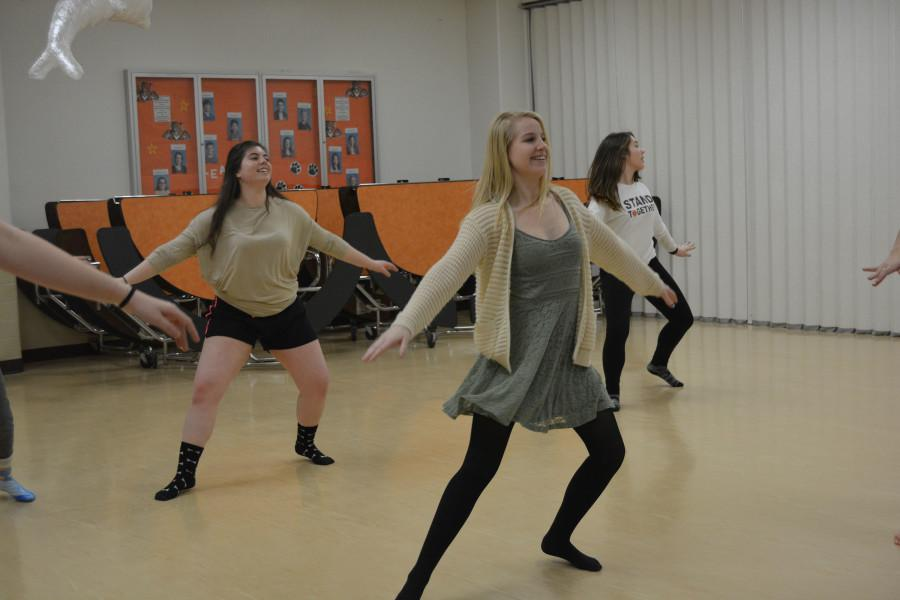 Orchesis dancers (Hannah Jones; left, Emily Forrest; middle, and Mady Basich; right) displaying their graceful poise, and elegant skill.