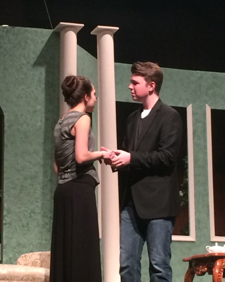 Actors Ovassapian and Mateer rehearse their lines before opening night, Feb 13.
