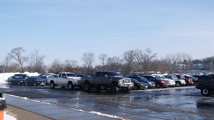 The hectic parking situation after the snow day on February 2, 2015.