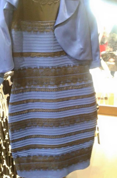 #TheDress is often seen as two different color combinations: black and blue or white and gold.