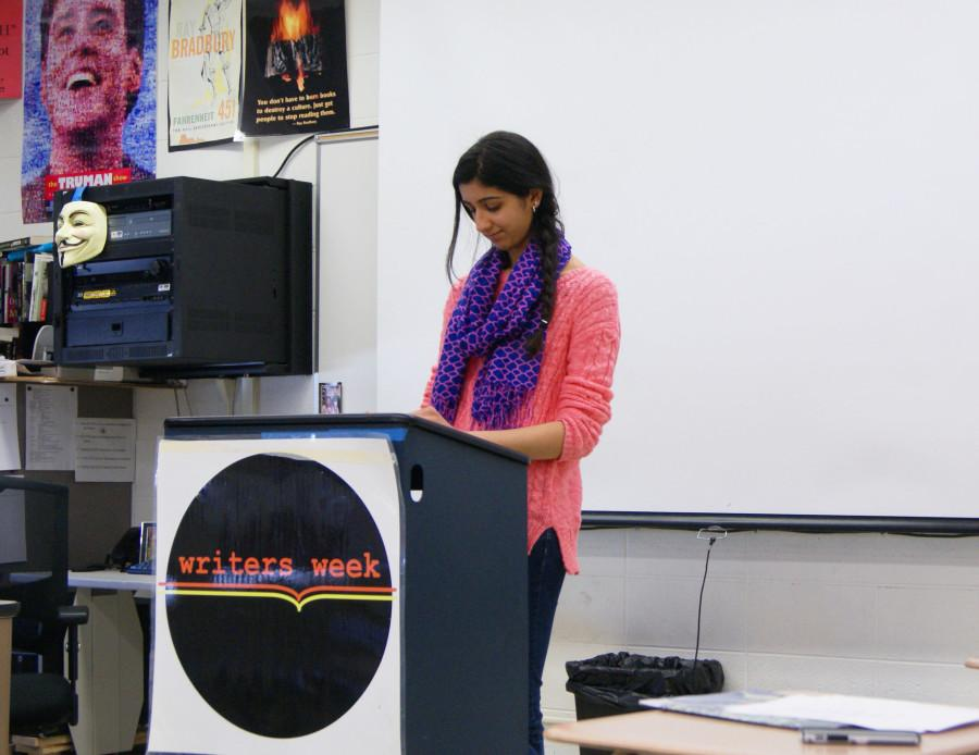 Junior Sarah Arora practices her piece that she will present during Writers Week.