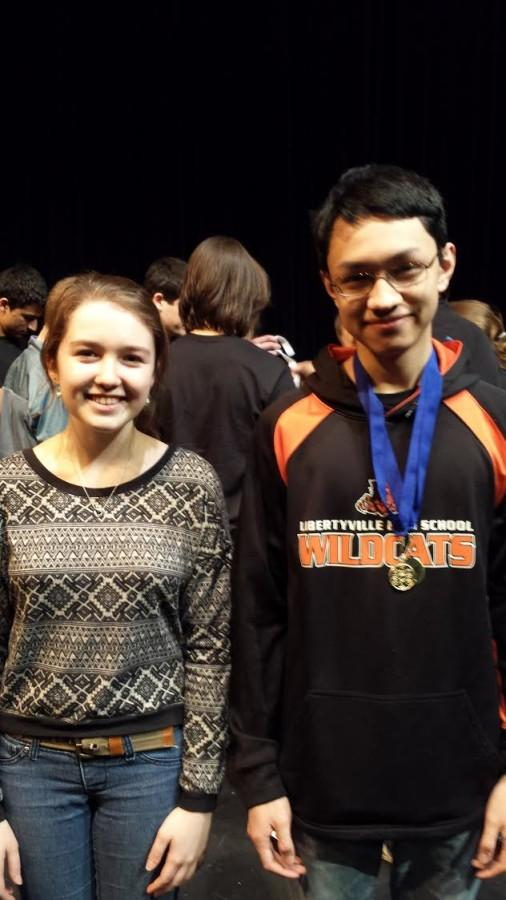 Hannah Loizzo and Elliot Stahnke after sectionals at Vernon Hills High School on March 13.