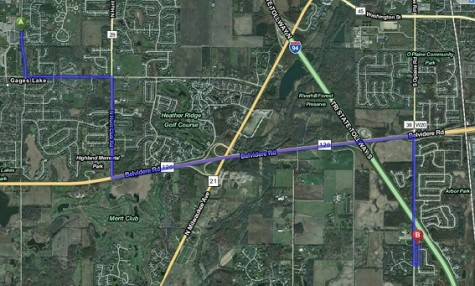 Highlighted in purple, this map shows the estimated route of 9 minutes from the Lancaster subdivision to Warren Township High School O'Plaine Campus.