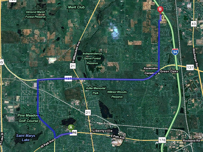 Highlighted in purple, this map shows the estimated route of 14 minutes from the Lancaster subdivision to Libertyville High school.