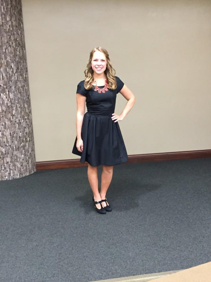 Mackey shows off her simple yet sophisticated black dress that won over all of the judges.