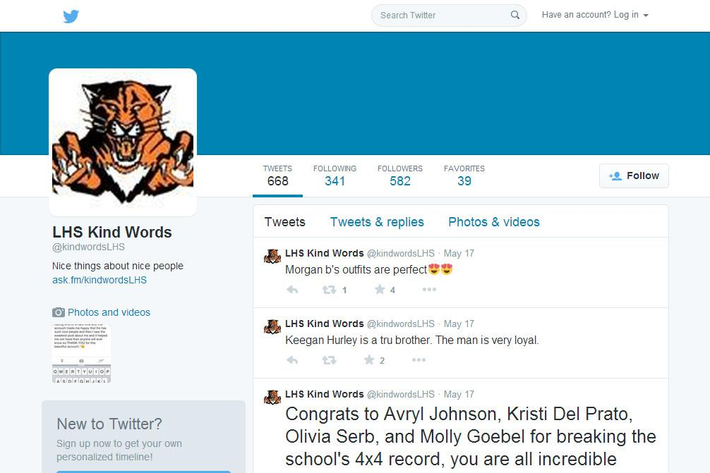 Within its first week of being created, @kindwordsLHS had over 500 followers and 600 tweets.