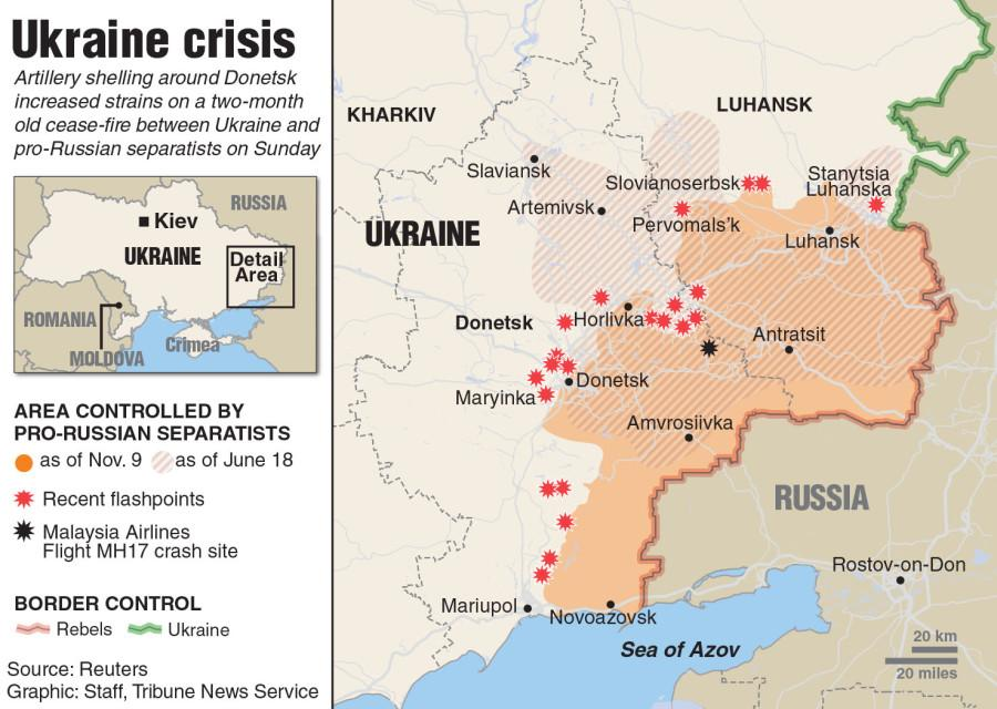 Map of Ukraine showing the area of control by pro-Russian separatists.