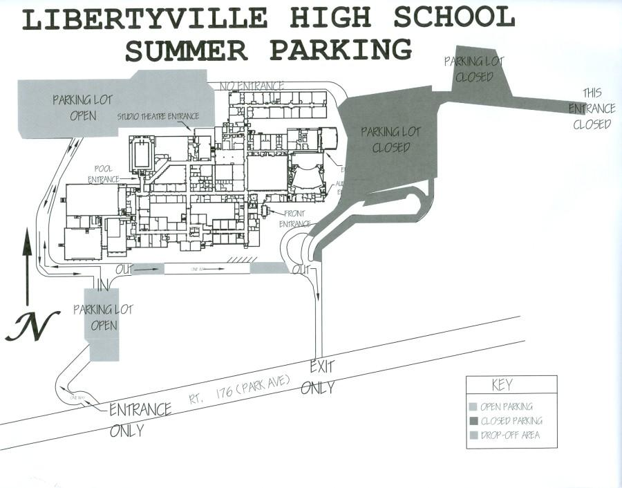 The LHS main parking lot construction will make some entrances unavailable.