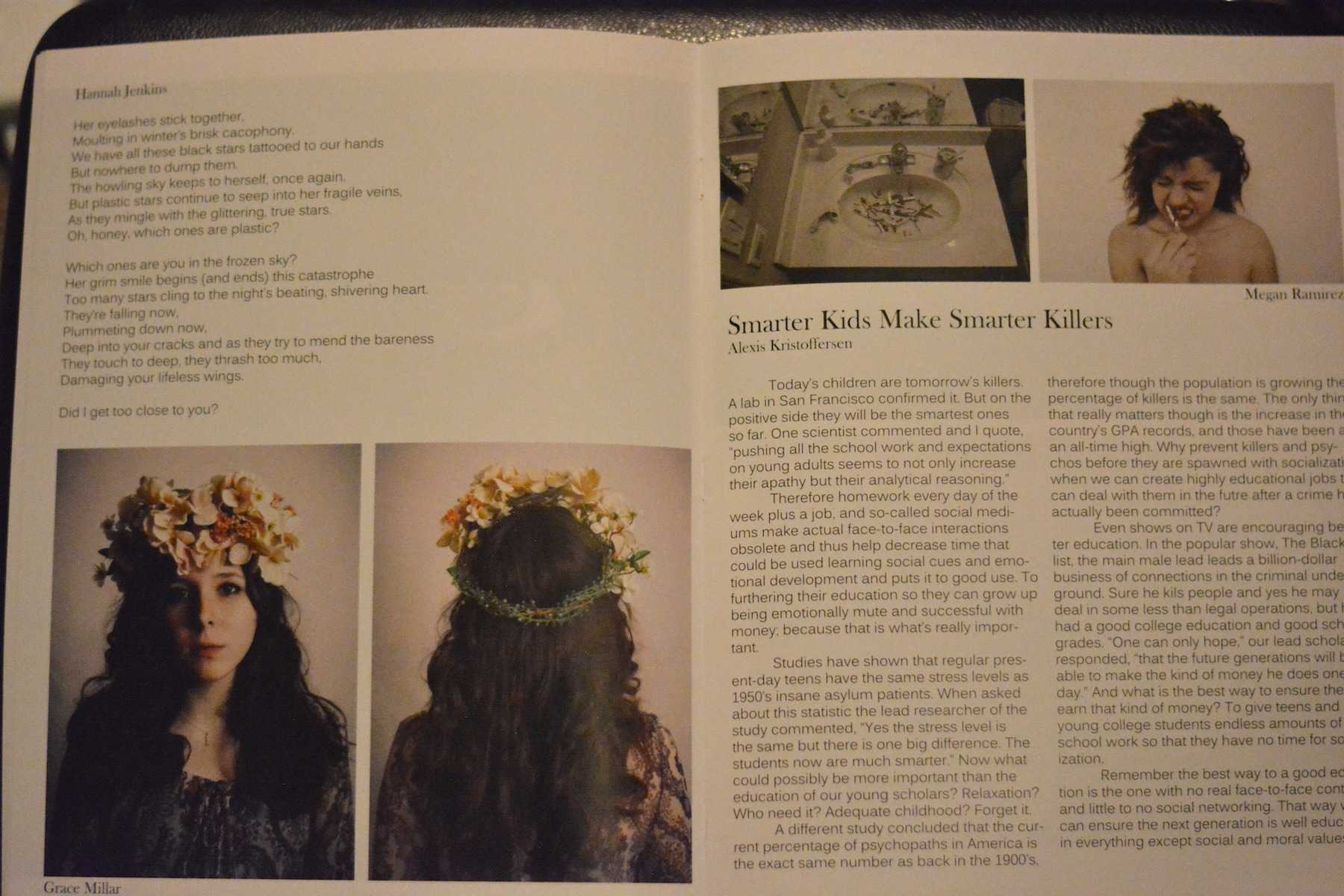 LHS student's art and writing displayed in the 2014-2015 magazine.