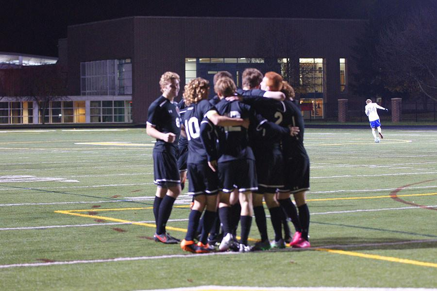 The team celebrates after Senior Nate Edmunds (12) scored his second goal of the night making the Wildcats  2-0 early in the second half.