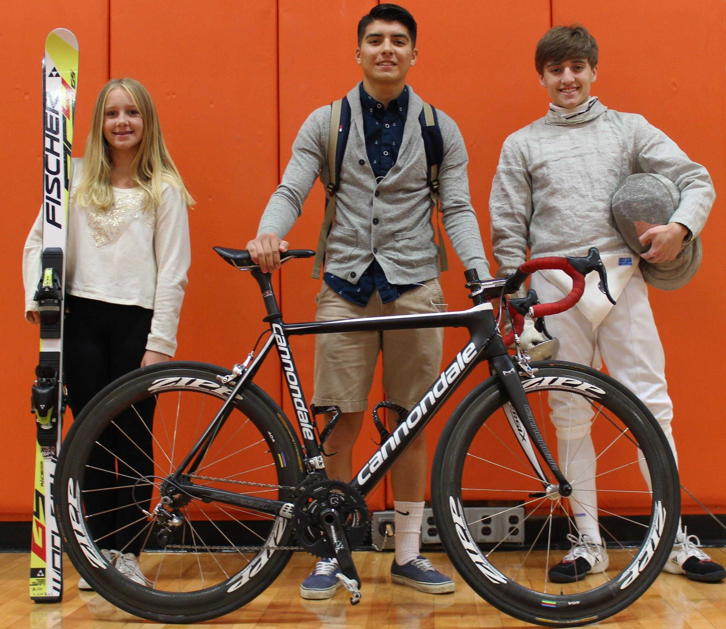 Ally Kunkel (left), Dante Parra (middle), and Brian Lemay (right) are three unique athletes and LHS students  that participate in skiing, cycling, and fencing.