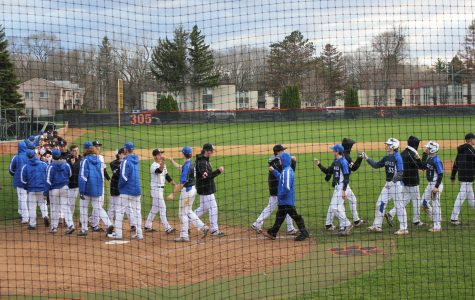 The two teams shake hands after Libertyville defeated the Warren Blue Devils, 6-1. Senior Jack Peterson homered for the Wildcats.