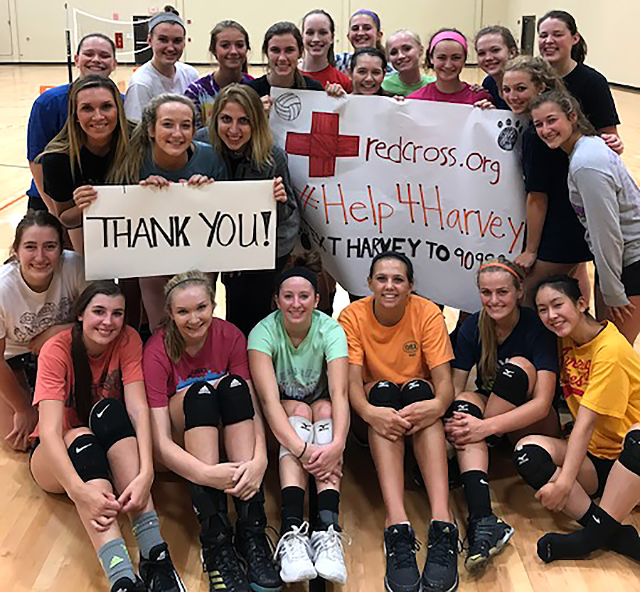 The LHS girls volleyball team raised $2,000 for the Red Cross to support the victims of  Hurricane Harvey.