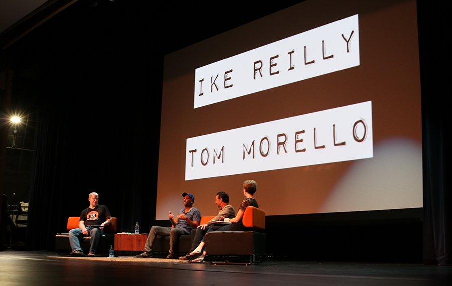 Tom Morello and Ike Reilly on stage discussing their memories of  LHS.