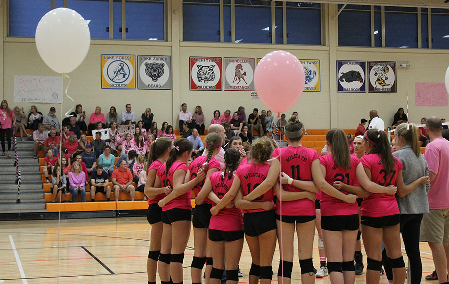 Almost $2,500 was raised at the volleyball breast cancer awareness match and all the proceeds will go to the Dig Pink - Side-Out Foundation.
