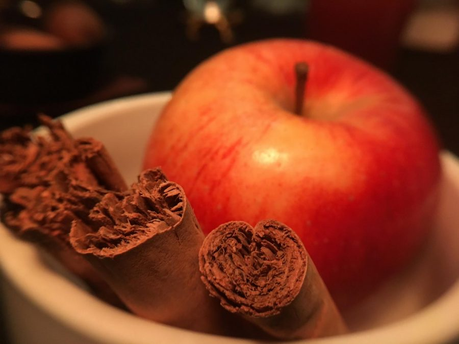Dumb suppers usually consist of a three to five-course meal. The first course may include a fruit that's harvested around the time of Samhain (like the apple as shown above) and an ornamental element of some kind, such as a spice, like cinnamon.