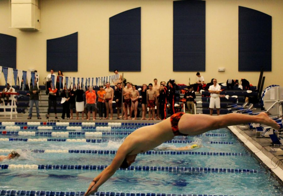 Junior Thomas Guiard competed in the 400-meter freestyle relay for the Wildcats. He started off with a swift dive into the pool.