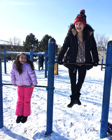 LHS sophomore Jada Higgins plays pato, pato, ganso with her partner at recess.