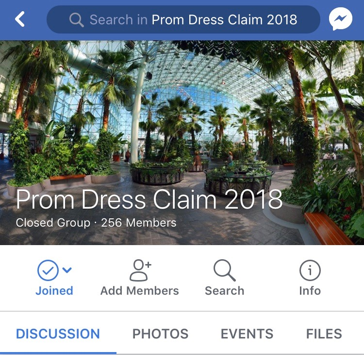 "Many junior and senior girls are added to a Facebook group chat titled ""Prom Dress Claim"" to show everybody their dress and state if others can have the same dress. Once people put a picture of their prom dress in the Facebook group, the dress has been ""claimed"" unless someone explicitly says that somebody else can have the same dress."