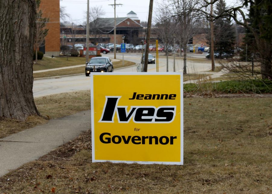 One of the larger election signs in Libertyville is in support of Jeanne Ives, a Republican candidate for governor, which is located off of Brainerd Avenue, not too far from LHS.