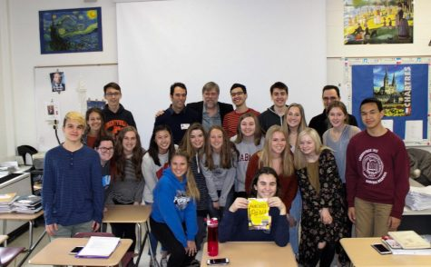Mr. Carlson presented to various French classes, including Mr. Guiard's fourth period French 4 Honors class.