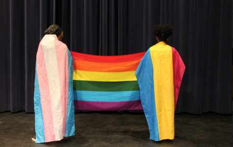 Two Students stand with various LGBTQ+ Pride flags.
