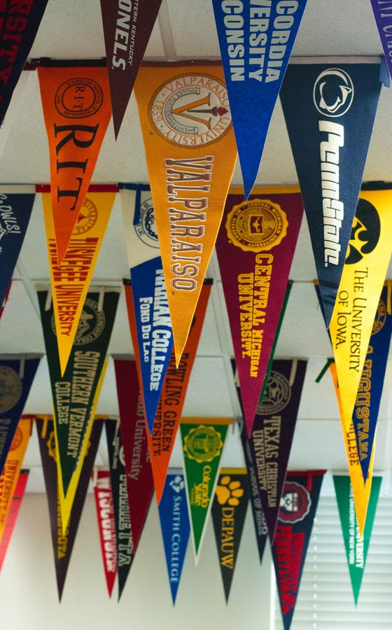 The CRC is decorated by a varied of pennants from colleges across the nation.