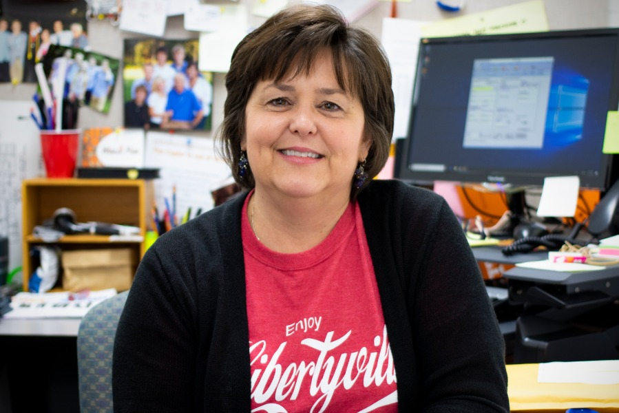 Mrs. Cote has been connected to LHS for some time. Before her six years working as a teacher support clerk in the Teacher's Center, she's had four kids graduate from Libertyville. Cote's job allows her to interact with the LHS staff, which she enjoys, becoming known by her colleagues to always put others before herself.