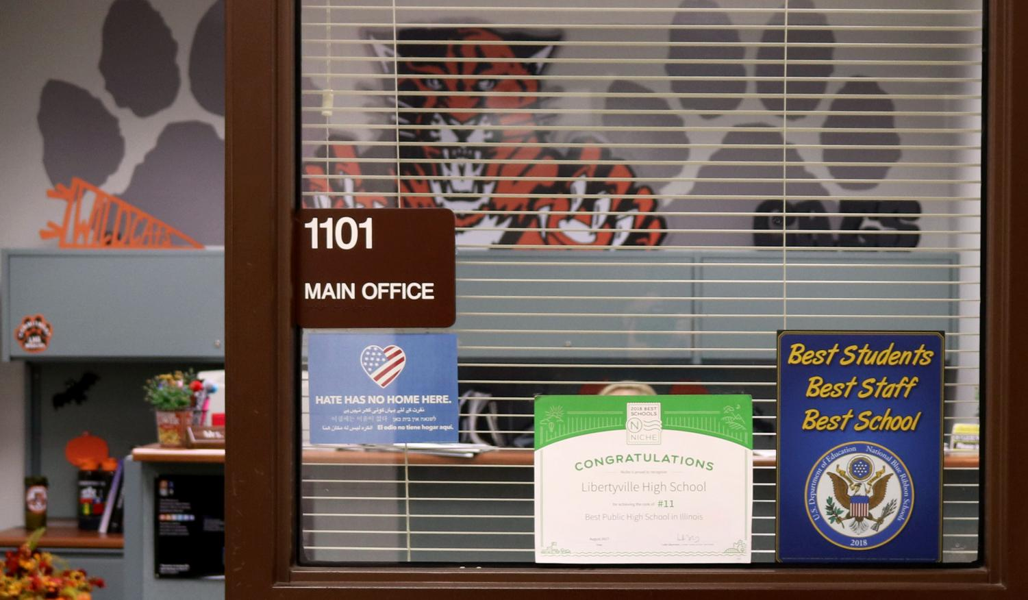 LHS recently received a package of souvenirs that state some of the reasons why LHS won the Blue Ribbon Award of Excellence. The blue sticker (bottom right), which is located on the window of the main office, was part of the package.