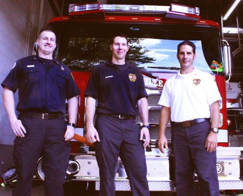 New member Mike Boyle (left), David Naspinski (middle), and deputy chief Mike Pakosta (right) are some of the members you can find working a 24 hour shift at the libertyville fire station. When not responding to a call, they often clean, check equipment, or find ways to engage with the community.