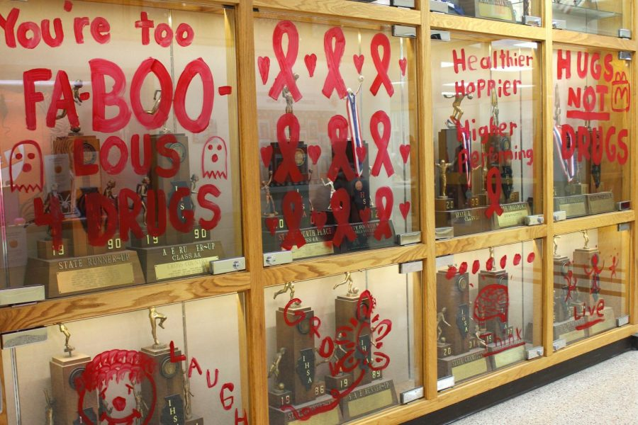 Windows around the school were painted to show support and spread the word about Red Ribbon Week, a drug and alcohol awareness campaign.