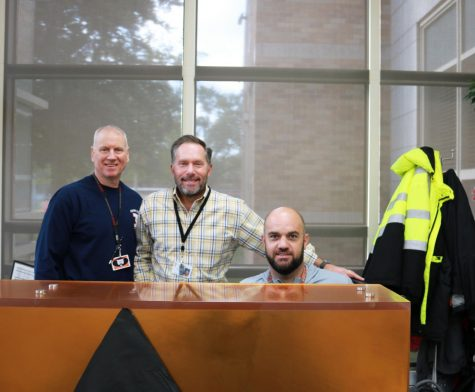 New safety team member, Bill Kinast (left), director of campus safety, Robert Uliks (middle), and team member Tim Akers (right) are three of the ten people on the campus safety team involved in keeping Libertyville High School students safe.