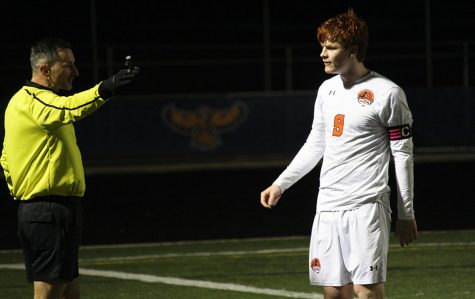 Rasmussen questions a call made by the referee, which gave Naperville North a dead ball.