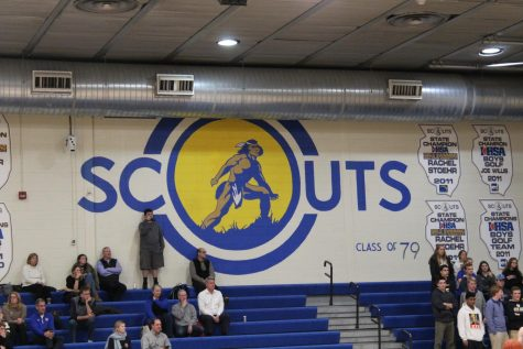 A mural of lake forest high school's mascot, the scouts, is still emblazoned on on the wall of the main gym where it was painted in 1979.