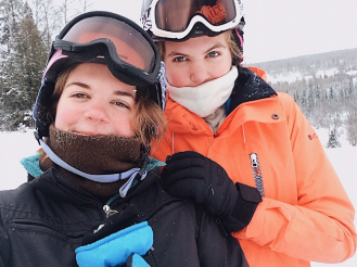 """(Eloise (left) and her sister Marielle) """"I really liked the snow because it wasn't snowing [in Libertyville] and it was snowing the whole time we were [in Michigan], so it was really good for skiing. [My favorite memory was] when my sister and I went skiing on a part of the hill that didn't have anyone on it, so we were the only ones."""""""
