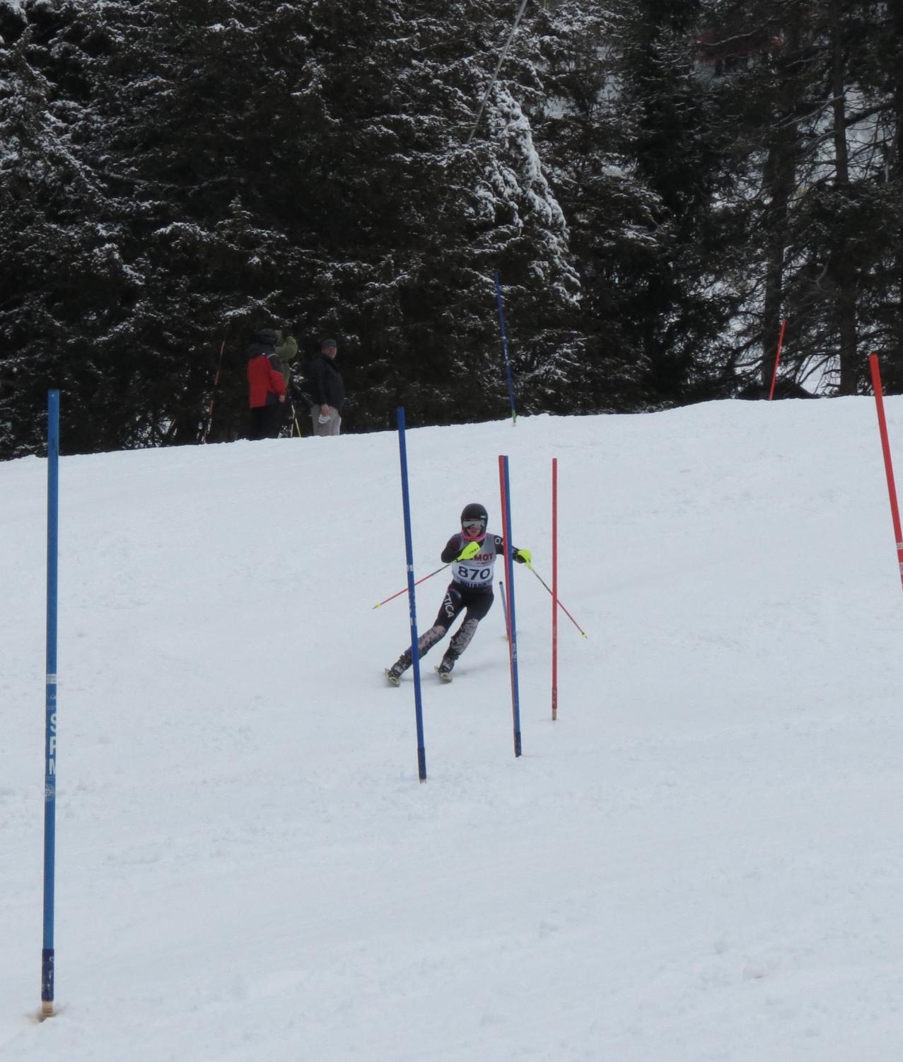 Kraus competes in the second slalom race at Sundown Mountain in Dubuque, Iowa. Slalom skiing is a technical event in alpine ski racing that involves skiing between sets of poles or gates.