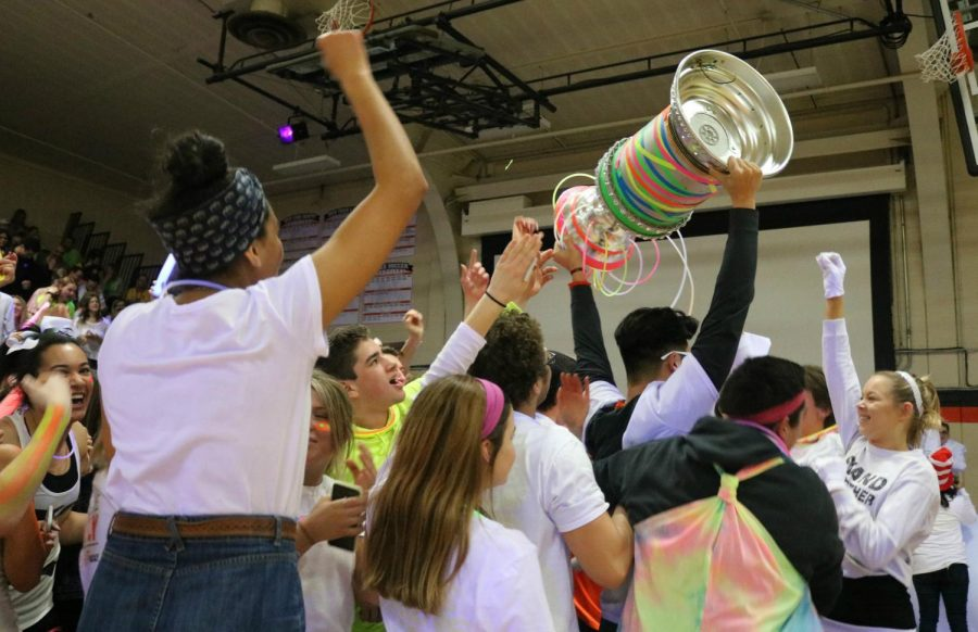 Seniors celebrate their victory as they parade the Spirit Cup overhead.