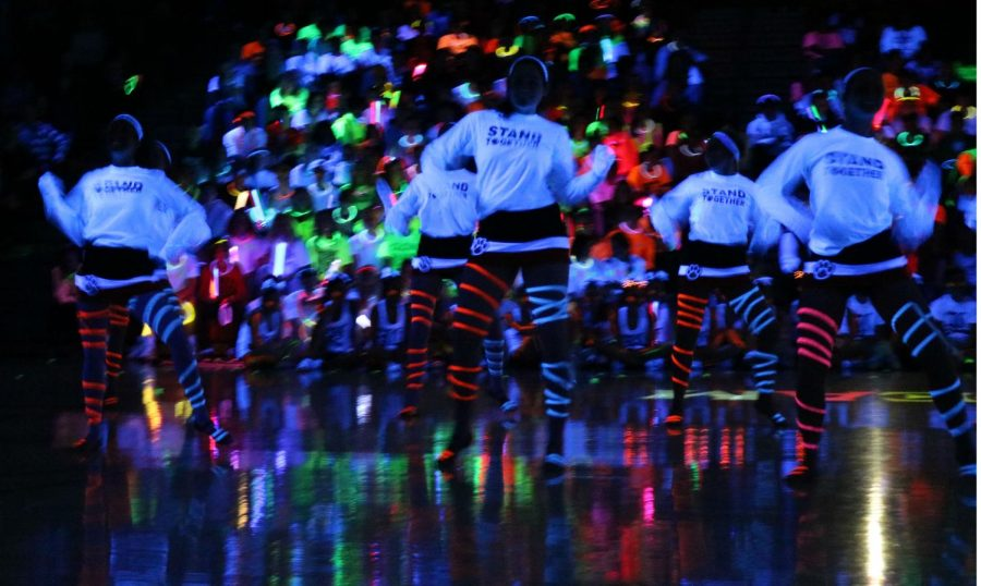 The LHS dance team donned neon tape during their performance as a cap to their season.