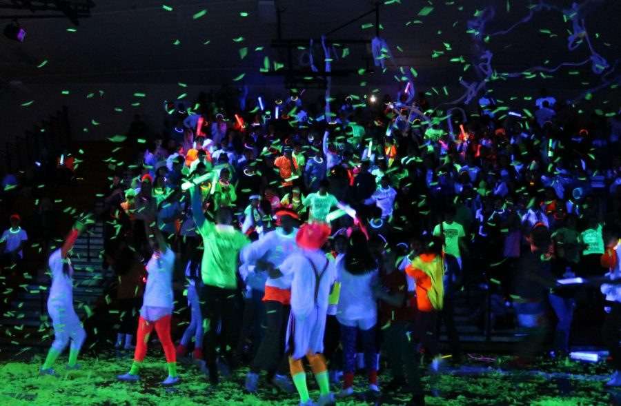 One of the assembly's surprises was bursts of neon confetti during the spirit competitions.