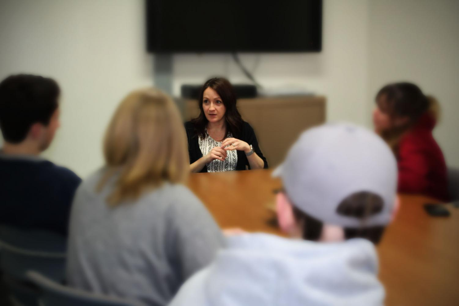 Mrs. Emily Eichmeier, one of the school's social workers, runs some of the various student support groups offered. The groups give students a safe environment where they are able to talk and relate to other students who may be experiencing similar circumstances