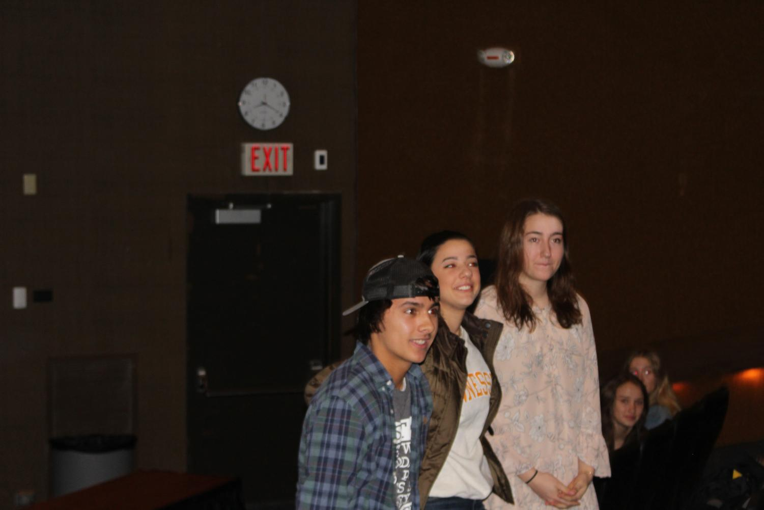 Seniors Ben Lopez, Layan Abdo, Katie Hay (pictured left to right) answer questions from the audience.